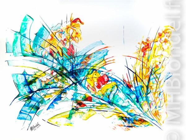 Prémices de printemps – Acrylique sur carton plume – 50 X 65 cm – 300€