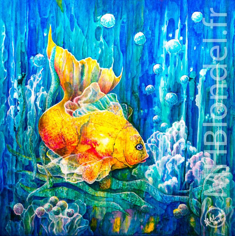 Bubble fish – Techniques mixtes sur toile – 60 X 60 cm – 400€