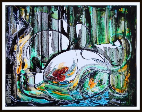 Secrets en forêt profonde – Acrylique sur carton plume – 50 X 65 cm – non dispo