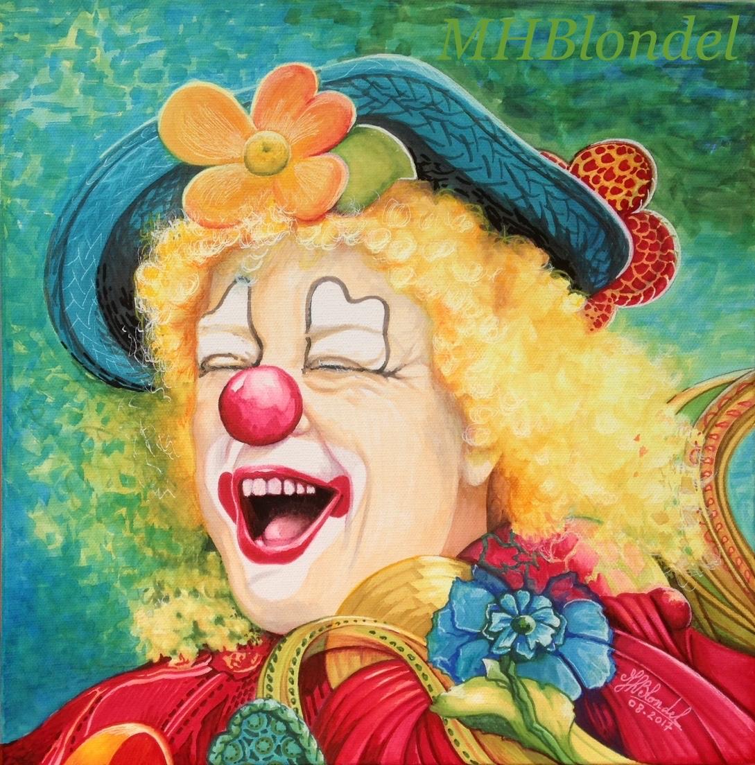 Clown'rit – Poscas sur toile – 30 X 30 cm – Non disponible