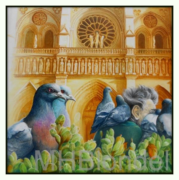 Les pigeons de Notre-Dame – Huile sur toile – 50 X 50 cm – 350€