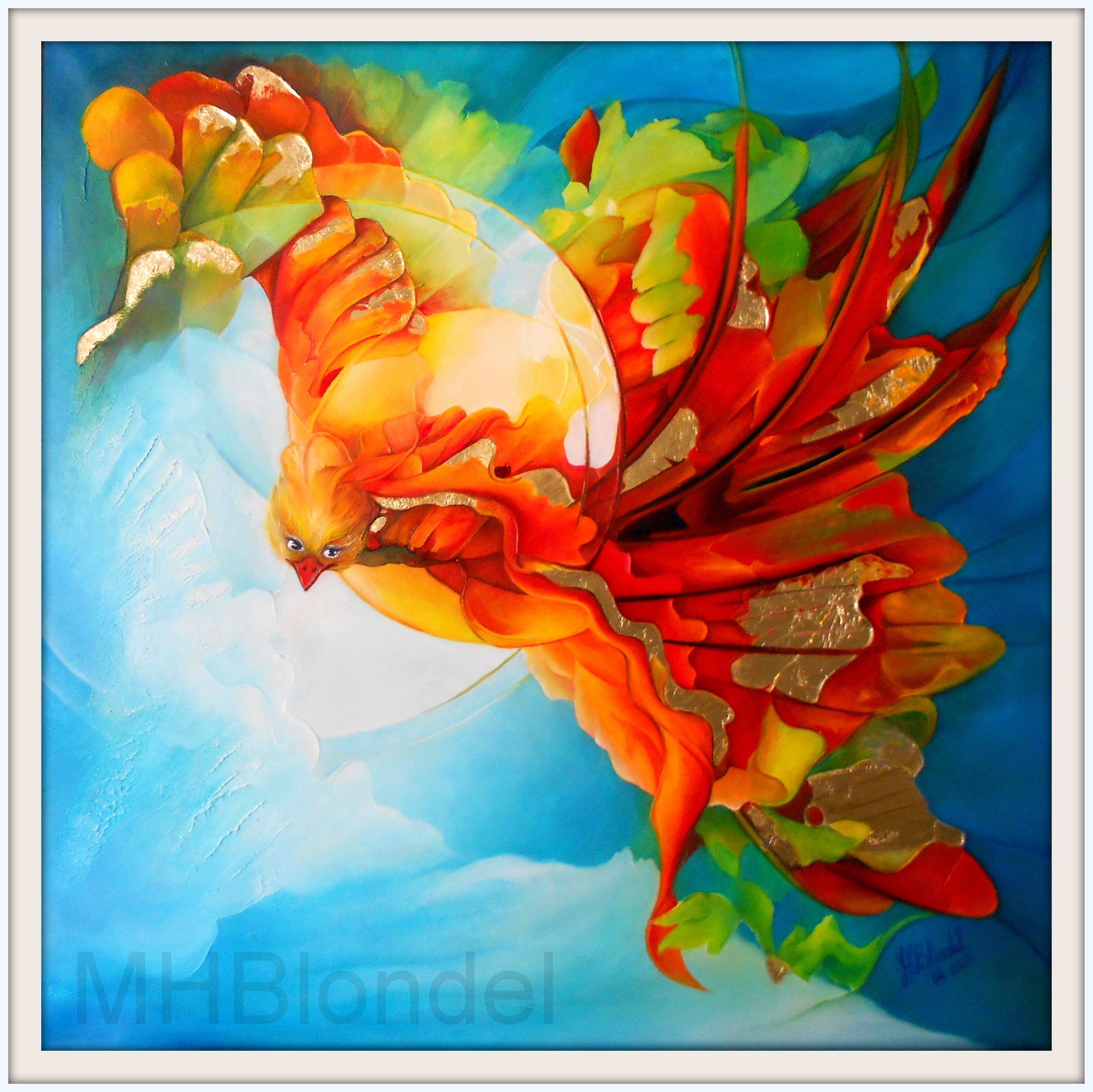 L'oiseau de feu – Huile sur toile – 60 X 60 cm – 400€