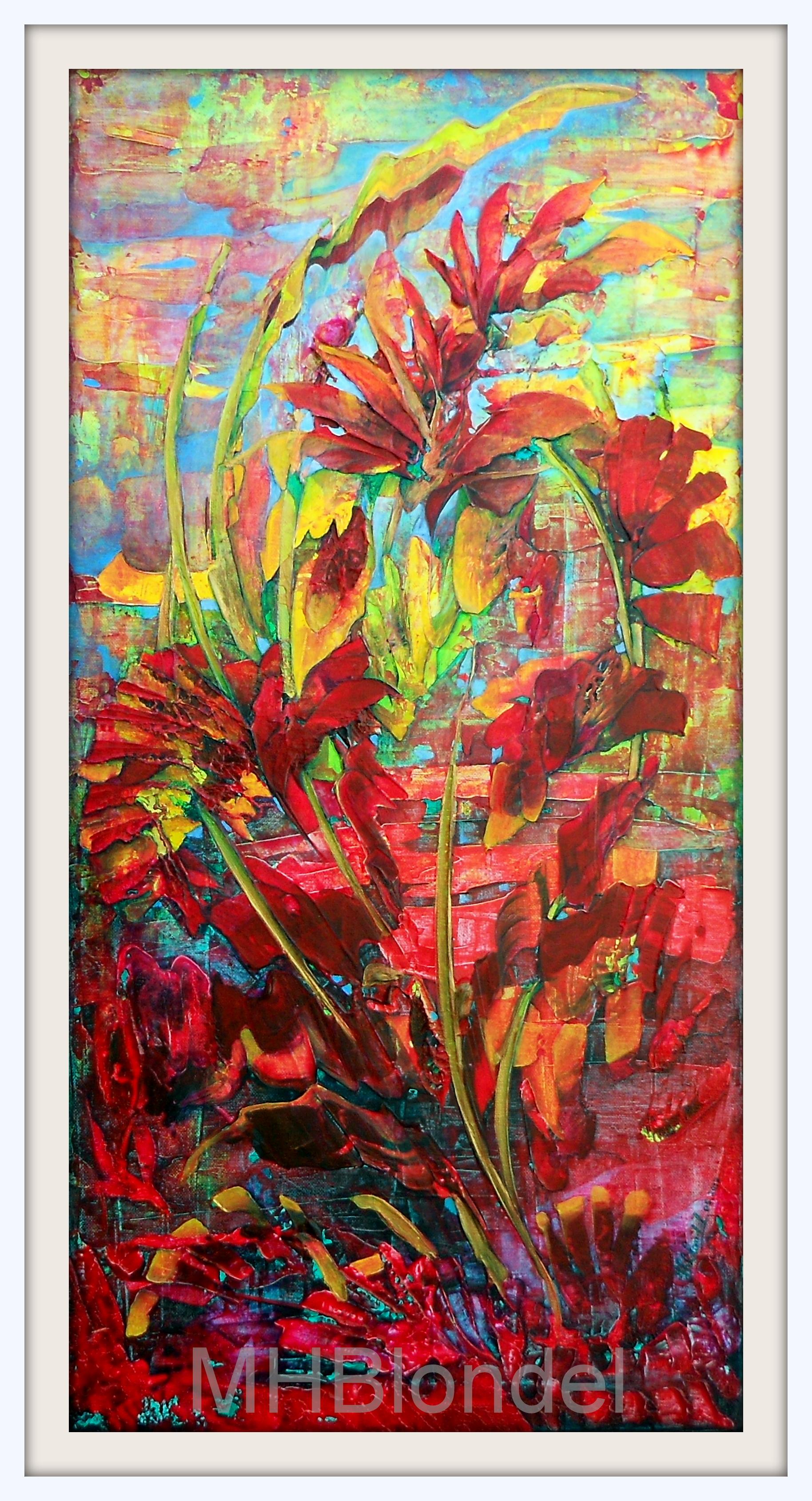 La danse du coq – Acrylique sur toile – 40 X 80 cm – 450€