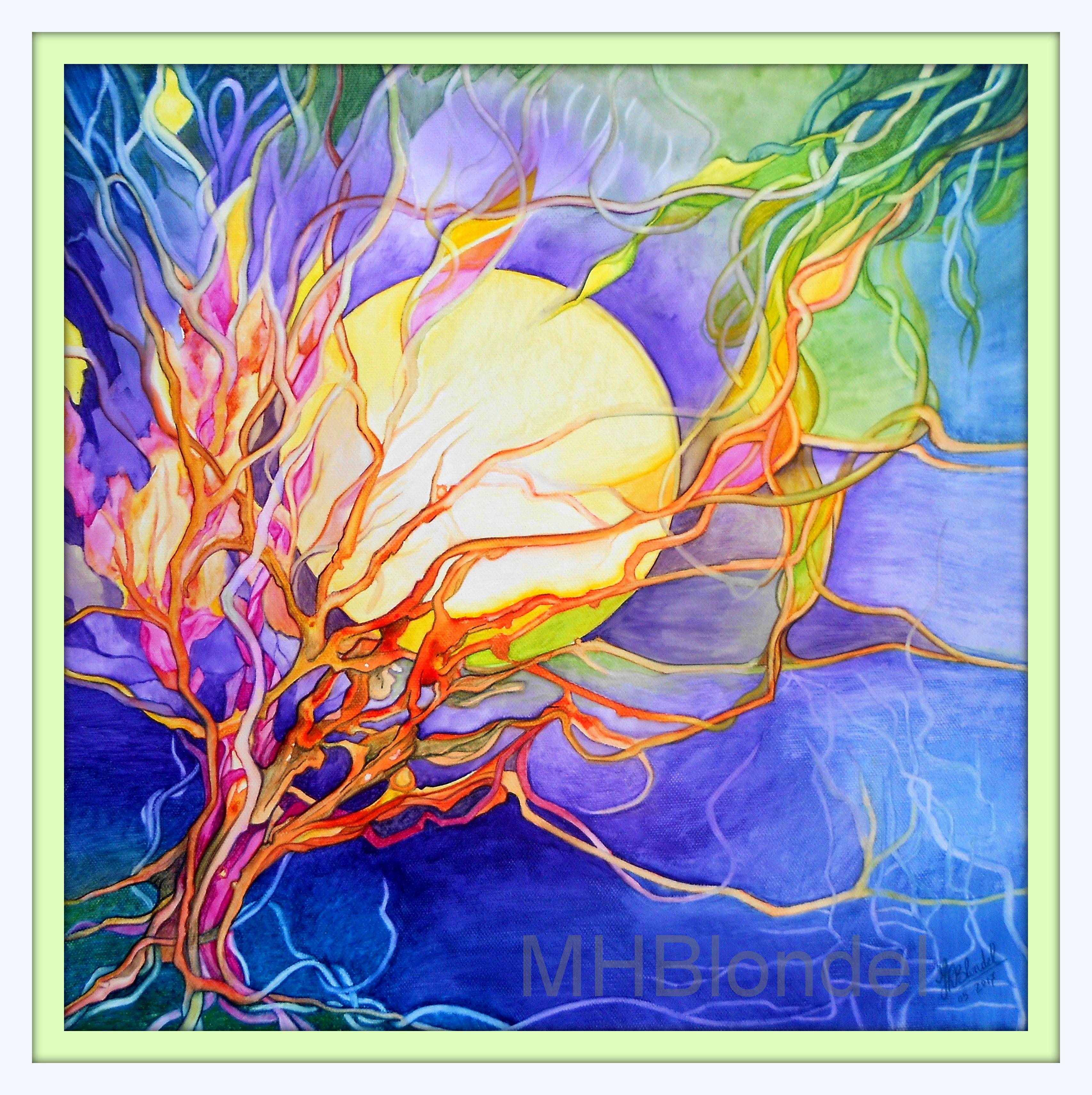 Fleur de lune – Aquarelle sur toile – 40 X 40 cm – 150€