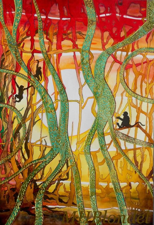 Lianes folies – Aquarelles, encres, poscas, collages… sur papier – 50 X 70 cm – 50€