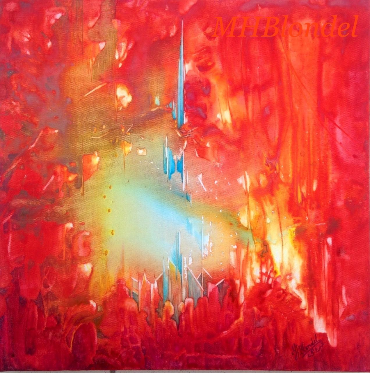 Flamboyance – Aquarelle sur toile – 40 X 40 cm – 150€