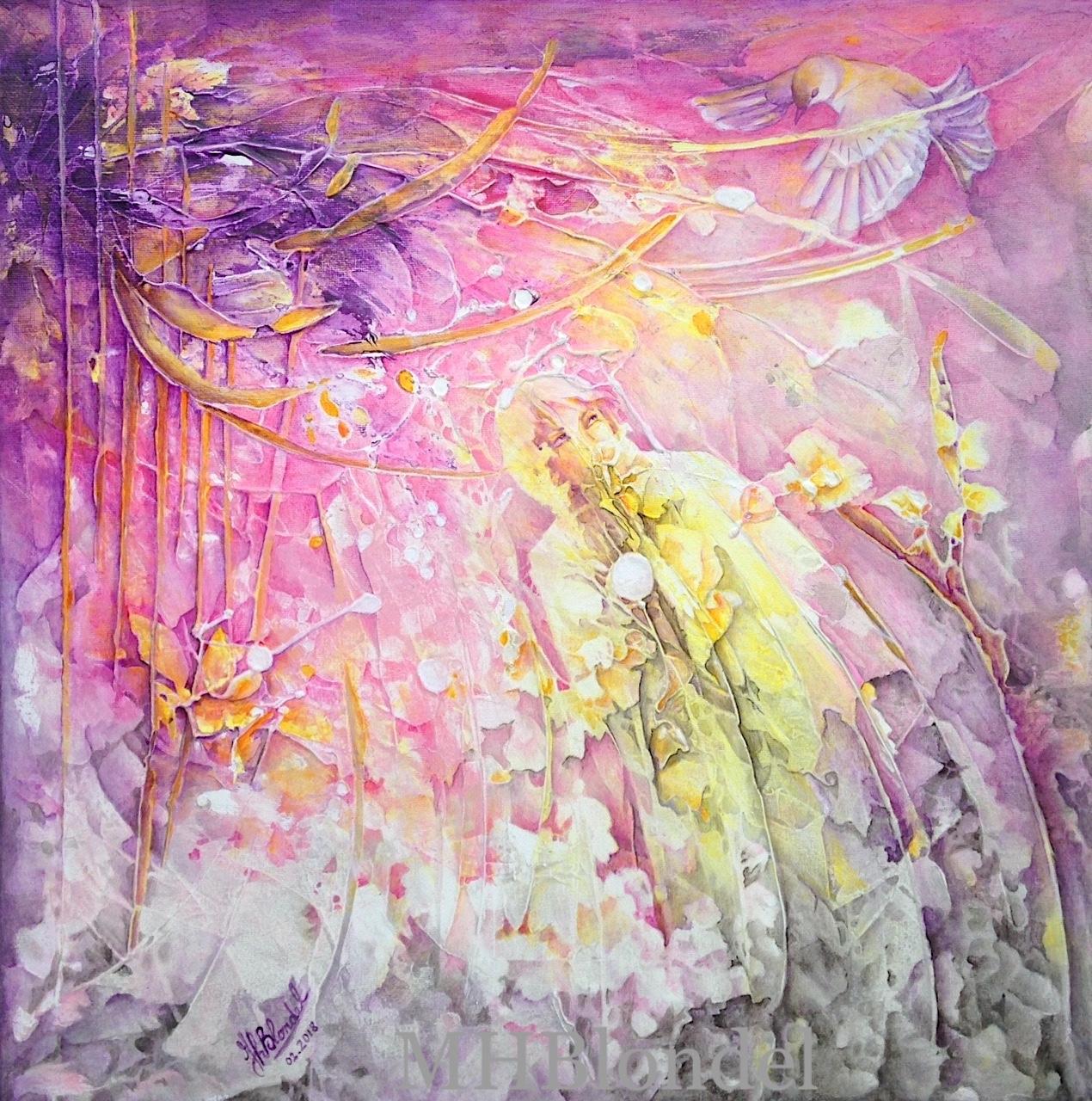 Le messager du bonheur – Acrylique sur toile – 50 X 50 cm – 350€