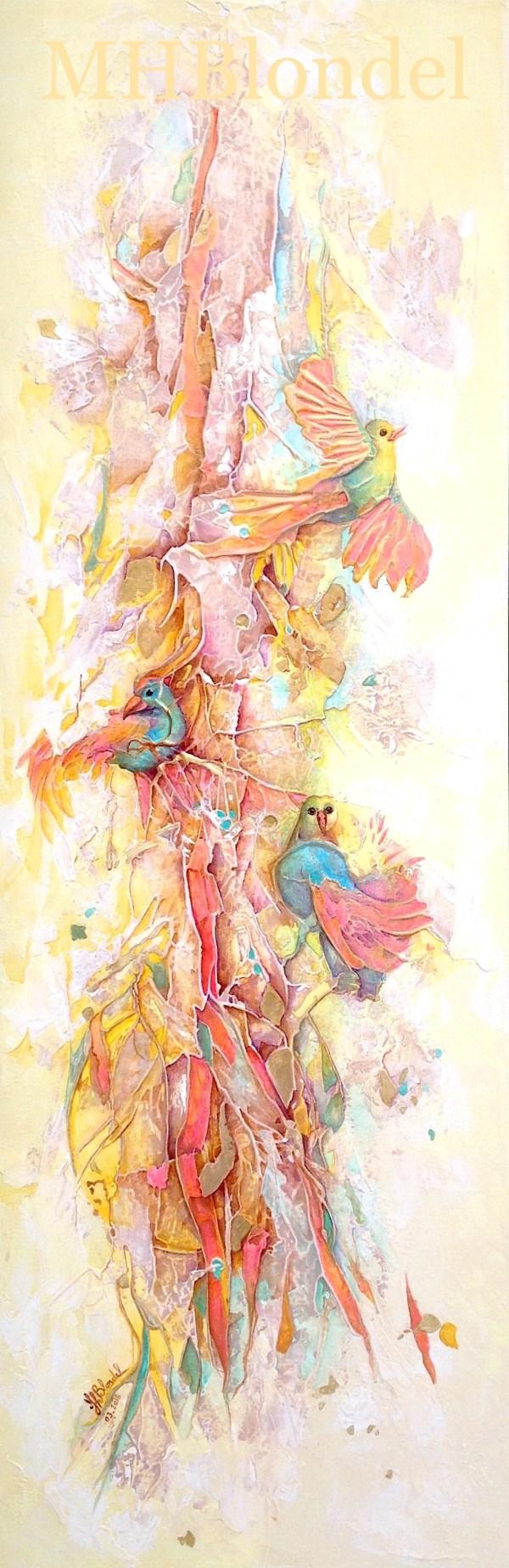 N'oiseautier – Acrylique sur toile – 120 X 40 cm – 650€