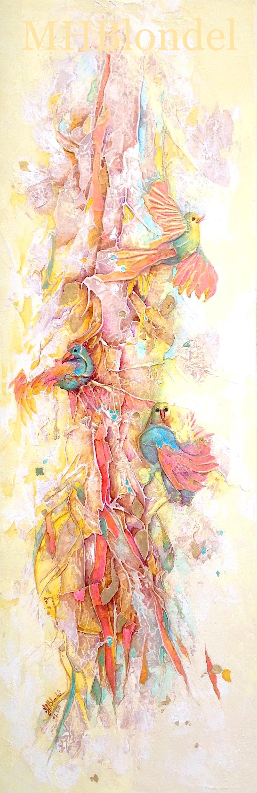 N'oiseautier – Acrylique sur toile – 120 X 40 cm – 500€