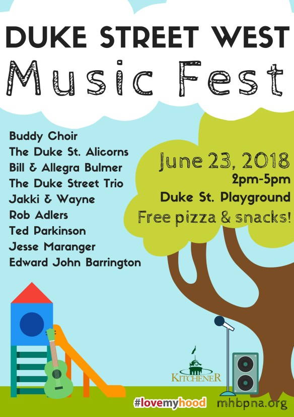 Duke St West Music Fest Poster, June 23, 2pm-5pm