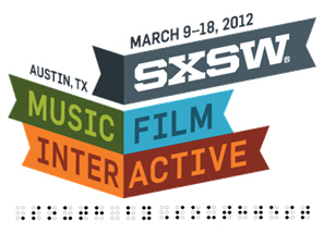 "The event's logo is shown with the words ""South by Southwest"" in Braille below"