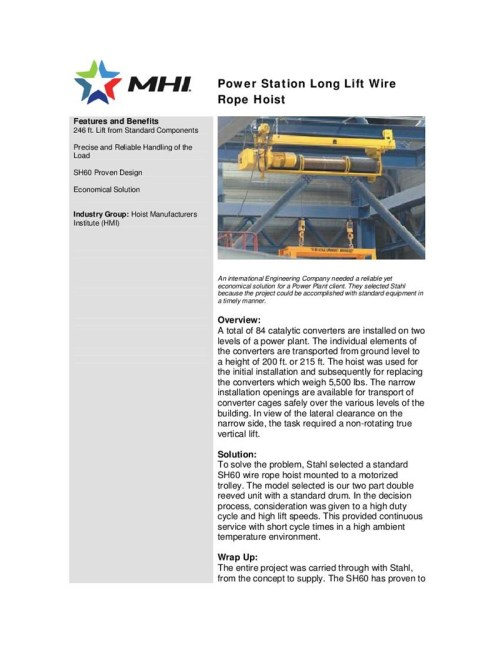 small resolution of wire rope hoist problem
