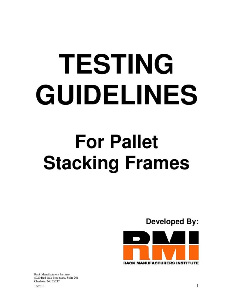 Testing Guidelines For Pallet Stacking Frames