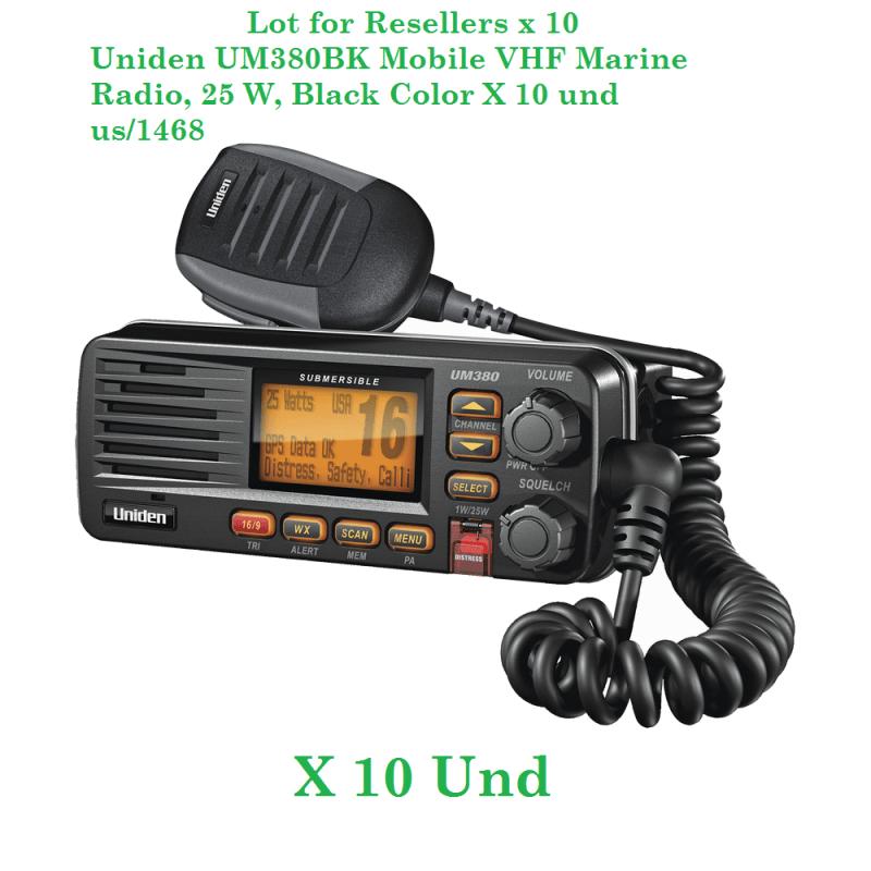 Uniden UM380BK Mobile VHF Marine Radio, 25 W, Black Color X 10 und us/1468