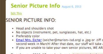 Seniors, we need your senior pictures for the yearbook by March 9th.