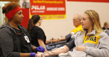 Cappra Svoboda, '18, donates blood during the high school blood drive on Wed., Nov. 8th.