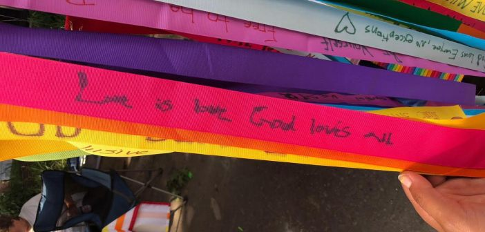 Ribbons at the Iowa City Pride Parade displaying love for the LGBT+ community. Photo by Livvy Draves.