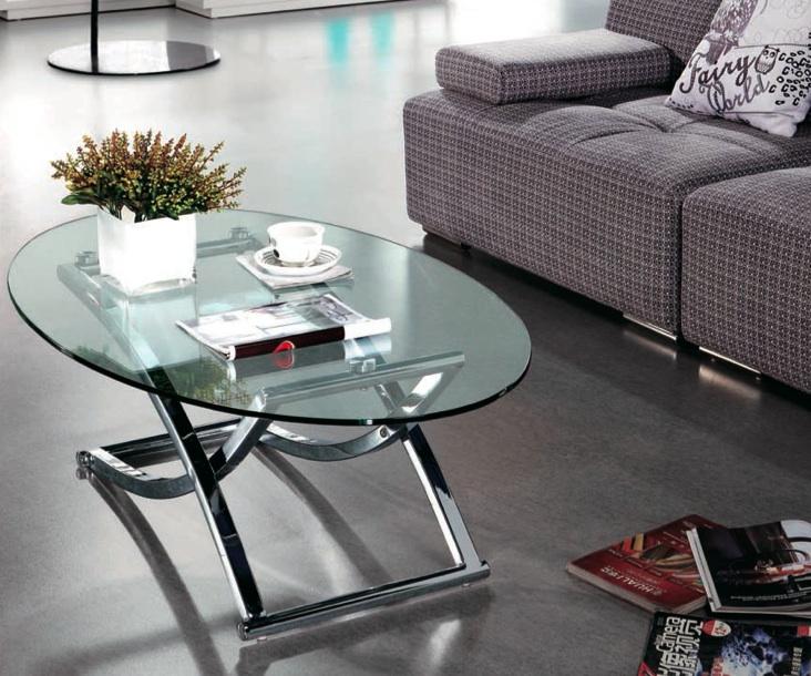 mesa de centro ovalada elevable