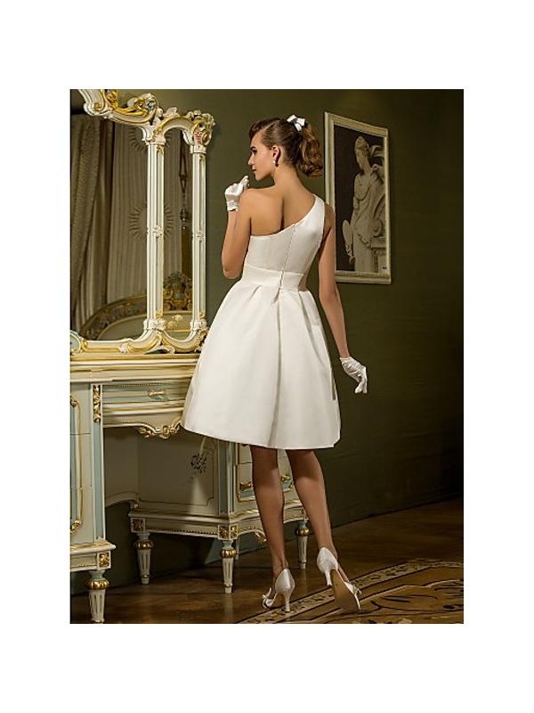 A Line Short Satin One Shoulder Wedding Dress