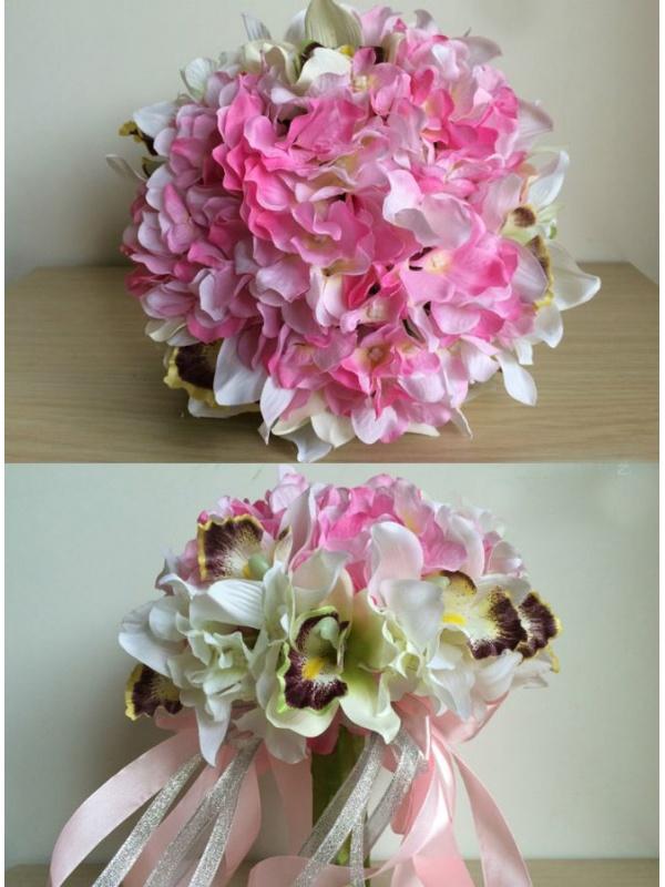 Bouquet Sposa finto con fiori rosa e orchidee