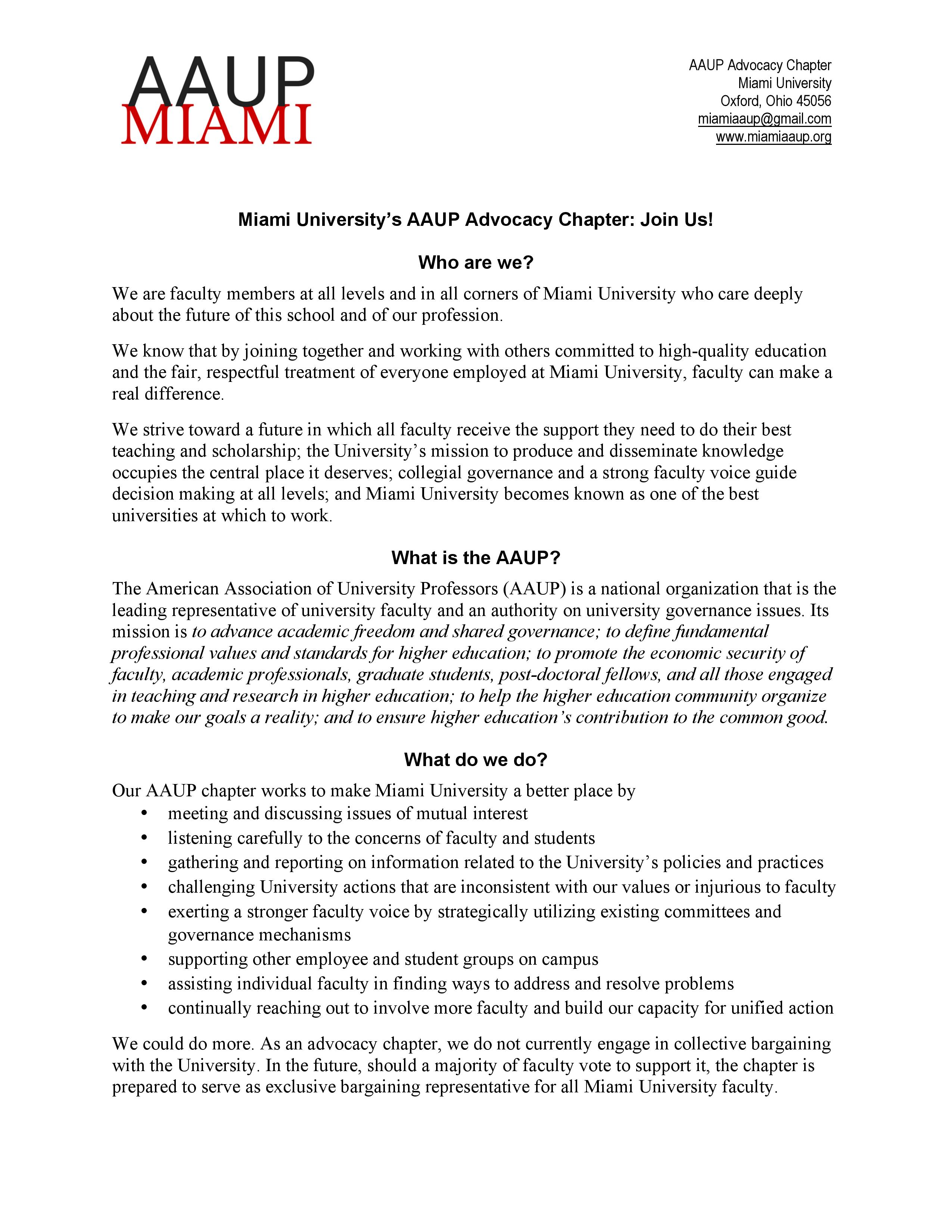 educational mission – Miami University AAUP Advocacy Chapter