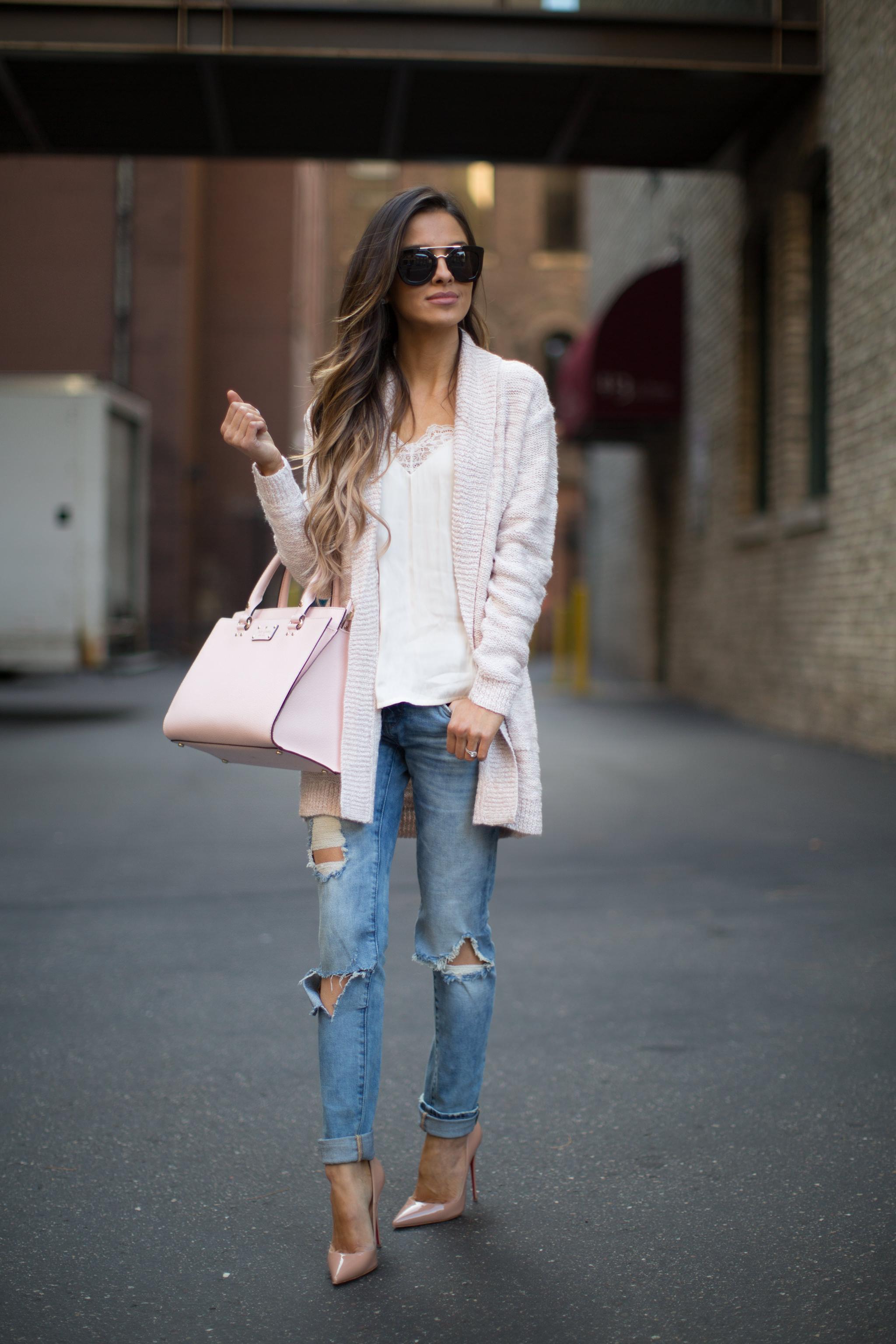 Pink Cardigan  Ripped Jeans  Mia Mia Mine