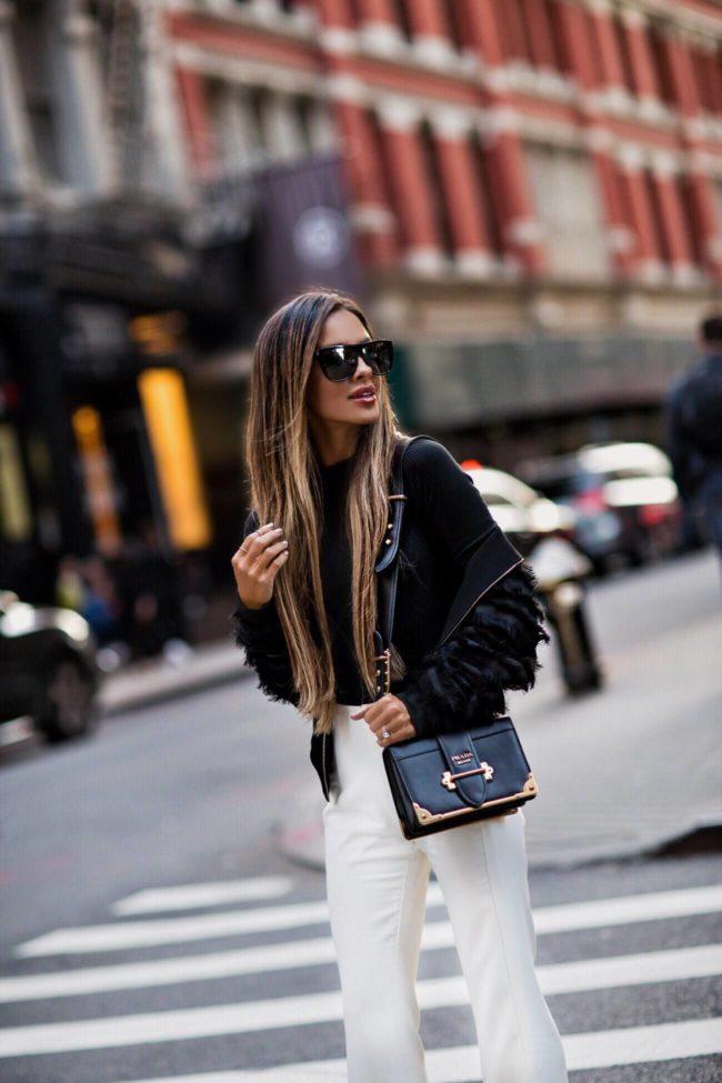 fashion blogger mia mia mine wearing a prada cahier bag at nyfw september 2017