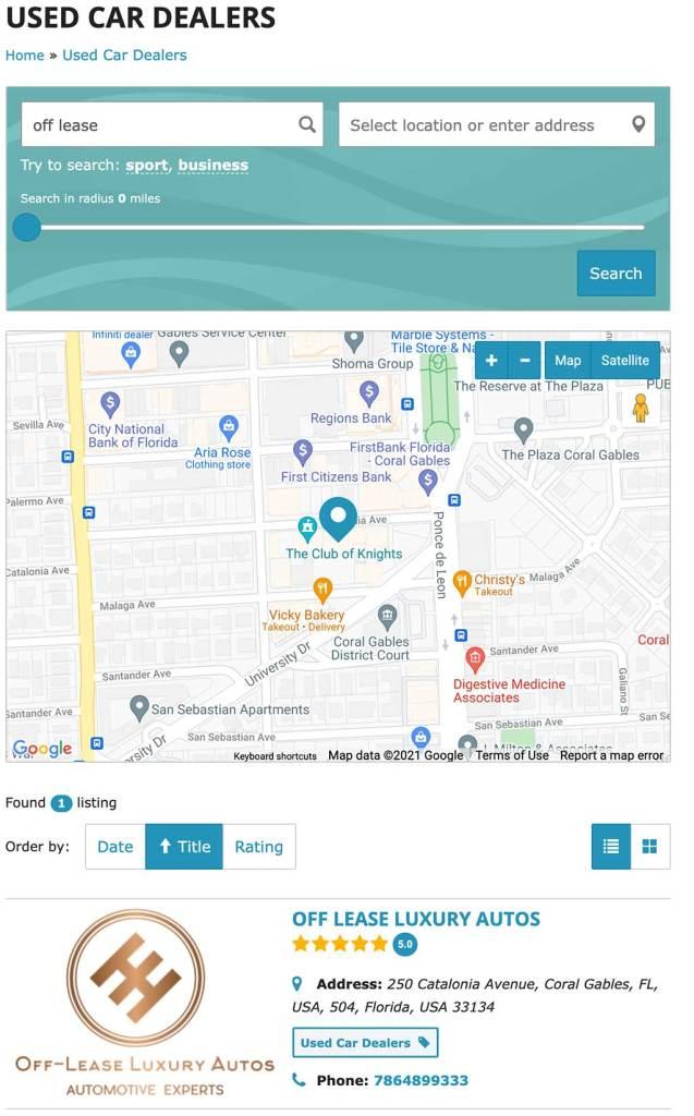 Miami Dealer Directory