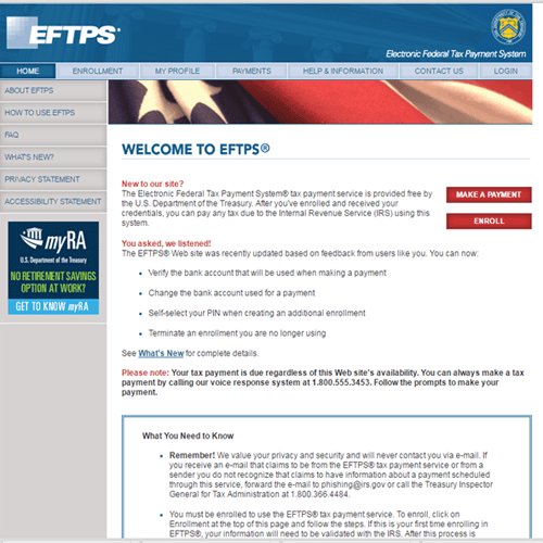 Enroll For Eftps To Make Irs Payments