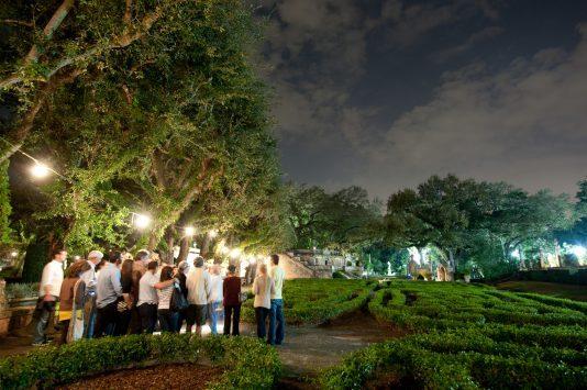 best garden tours miami, MiamiCurated, Vizcaya gardens by night