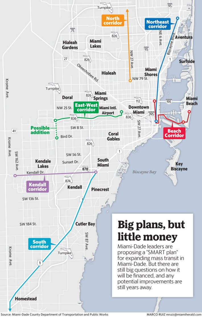 miami-dade may build six new rail lines for commuters