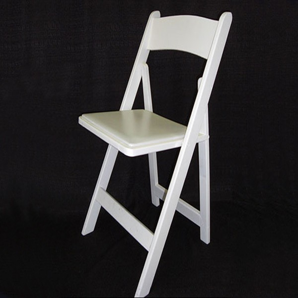 White Wood Padded Folding Chair Rentals in Miami