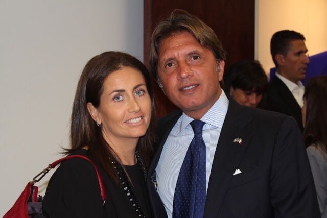 The President of Miami Scientific Italian Community Fabio De Furia and Mariagiovanna during Art Basel 2017