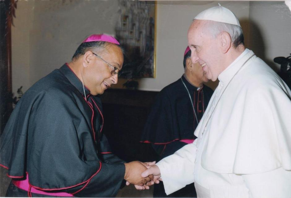 Bishop George with Pope Francis