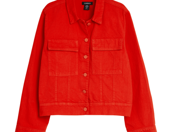 Röd jeansjacka