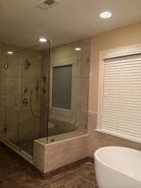 90 degree shower and free standing tub  Mia Shower Doors