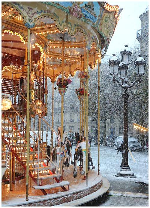 Carousel in Snow, Paris, France