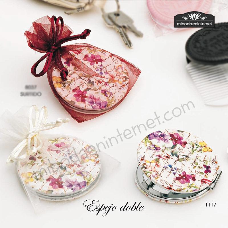 1117 Espejo doble piel escrito y flores