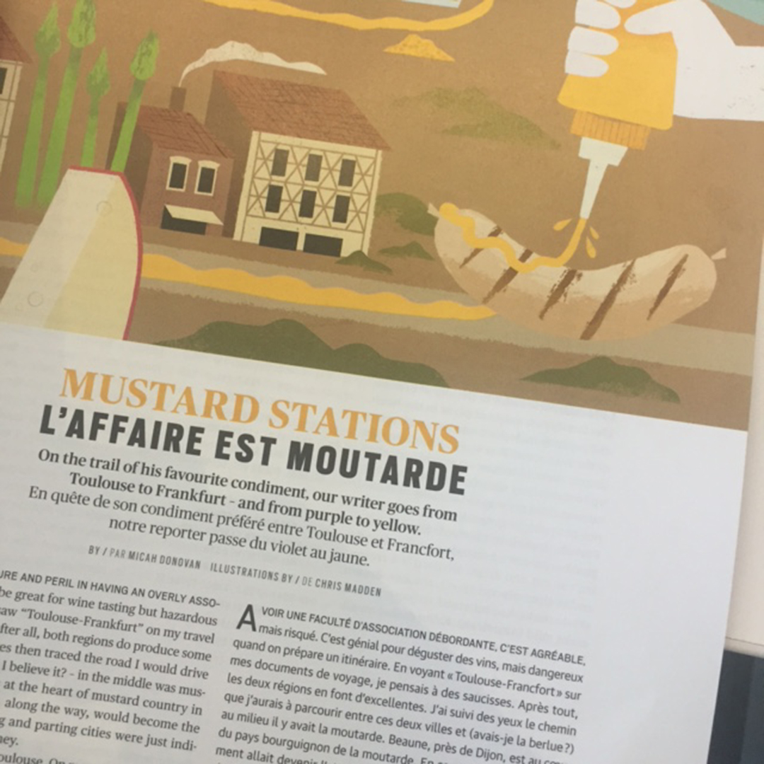 July 2016 issue of enRoute Magazine tracks the changes in mustard from one sausage city, Toulouse to another, Frankfurt, with mustard country of Bourgogne in the middle
