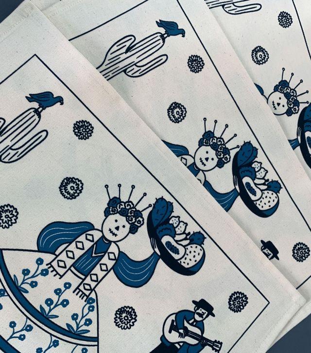 Set 4 tovagliette serigrafate di cotone/ Messico by Francesca Rizzato