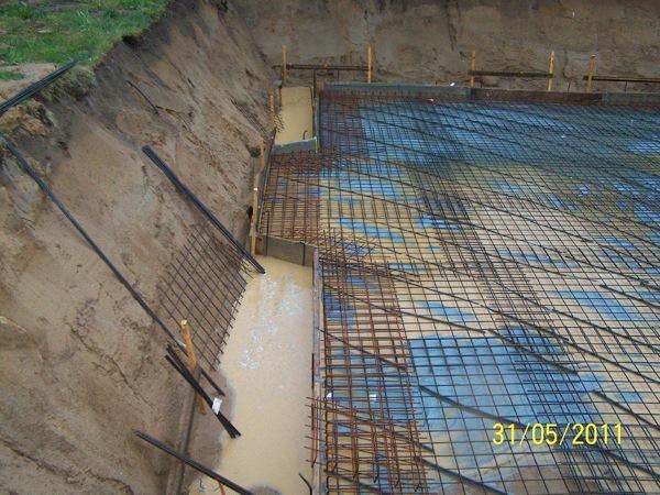 Die Verschalung für die Sohlplatte mit Hilfe von Schnurböcken