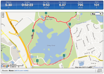 December 30, 2012 Running Stats at Lincoln Woods State Park