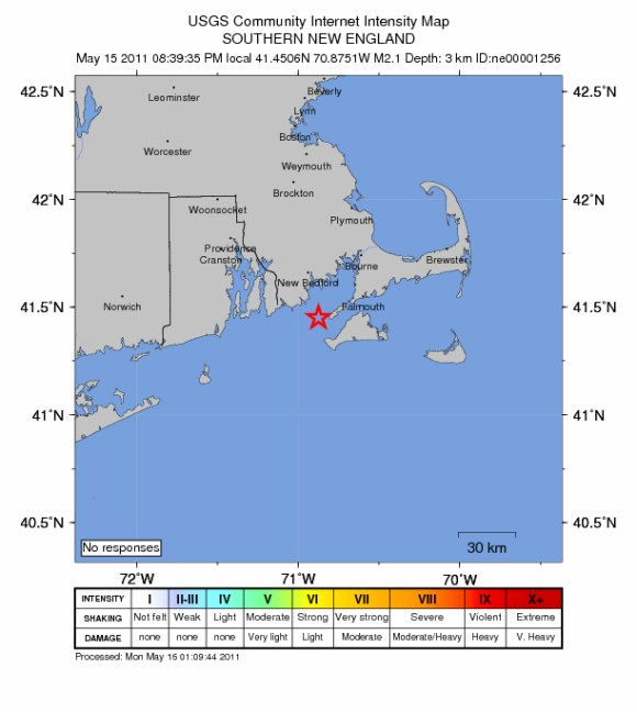 2.1 Earthquake Sunday Night 14 miles to the South-South-East of New Bedford