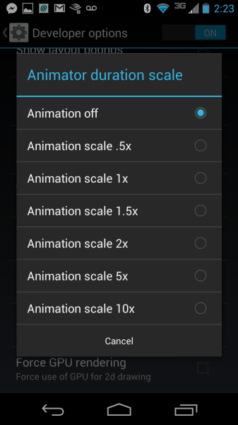Animator Duration Scale Menu
