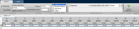 Fig 3. The data import window from MatLab.