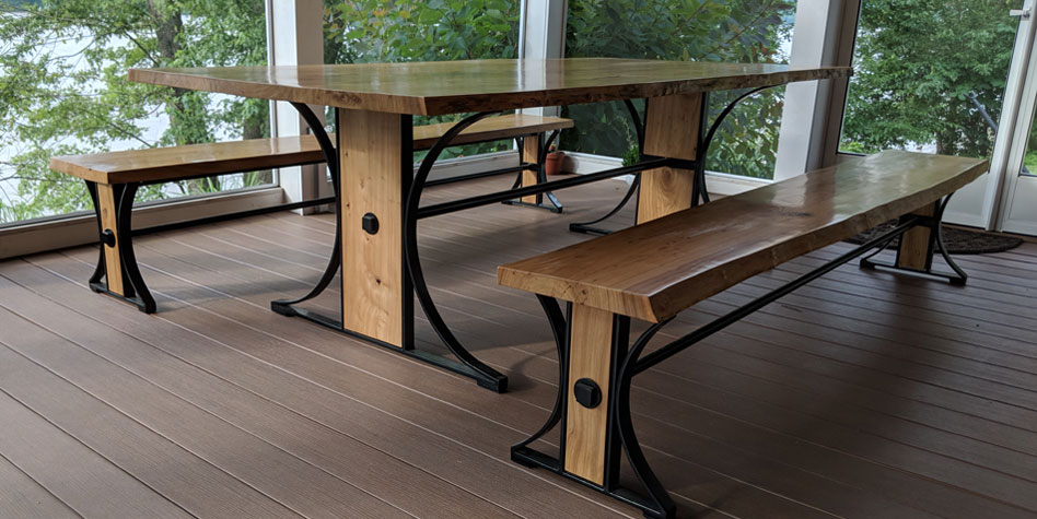 Table & Benches featuring Live-edge Butternut and forged steel by Michael Colemire for residential client.