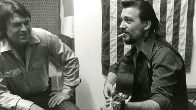 Shaver and Jennings backstage at the Armadillo. Photo by Burton Wilson.