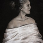 Draped in White, 2011, charcoal and chalk on paper, 12x16in (30x40cm)