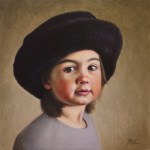 Girl In Fur Hat (Portrait of my Daughter), 2015, oil on panel, 15x15in (38x38cm)