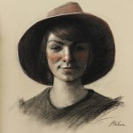 Girl Wearing Hat, 2013, charcoal, sanguine, and chalk on paper, 15.5x14.5in (39x37cm)